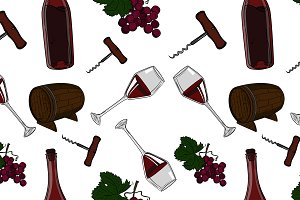 Hand drawn pattern of wine