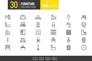 UXIcons Design: 30 Furniture icons