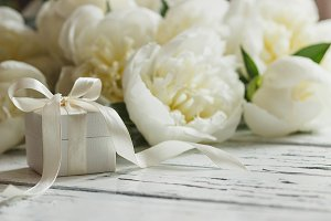 Collection of white peonies