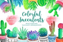 Watercolor Succulents & Cacti
