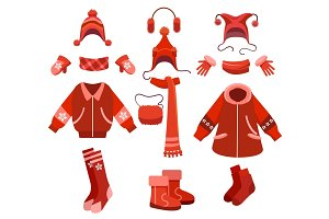 Cartoon woman winter clothes