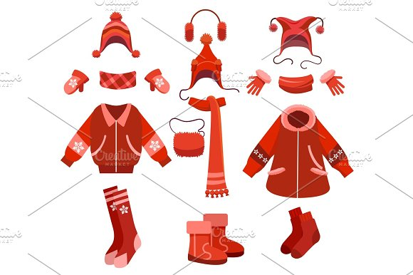Cartoon Woman Winter Clothes