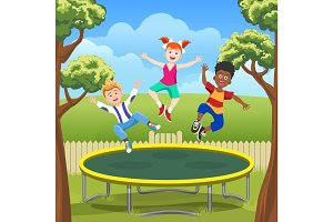 Jumping kids on trampoline in backyard