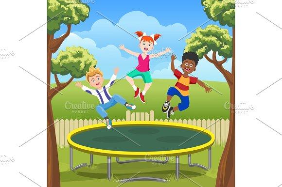 Jumping Kids On Trampoline In Backyard
