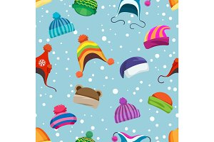Retro winter hats seamless pattern
