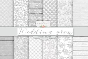 Wedding rustic grey digital papers