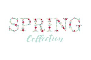 Beautiful seasonal shop banner with letters decorated with hand drawn rustic flowers