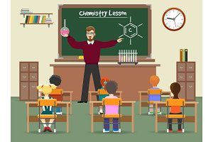 Chemistry lesson classroom illustration