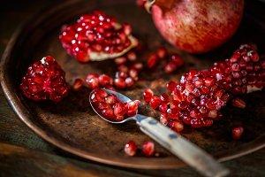Fresh peeled pomegranates