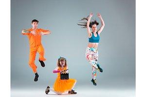 The man, woman dancing hip hop choreography