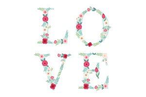 Beautiful letters decorated with hand drawn rustic flowers