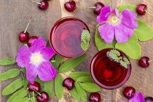 Homemade cherry juice
