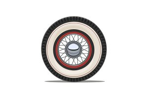 Vintage car wheel with spoke vector illustration.