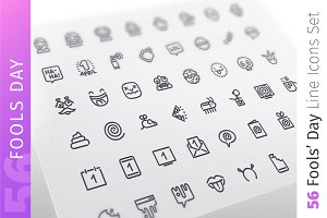 Fools Day Line Icons Set