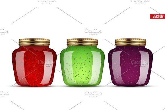 Set of Glass Jars with jam.