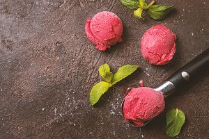 Raspberry red ice cream