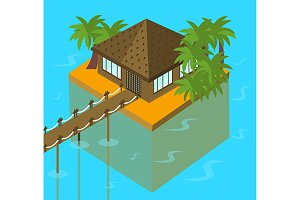 Tropical bungalow. vector+jpg