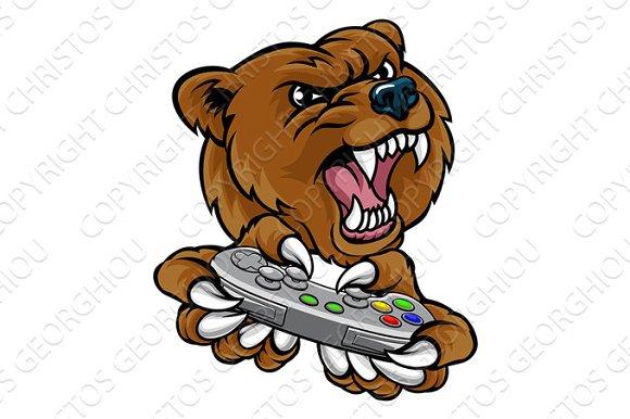 Bear Gamer Player Mascot