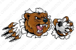 Bear Holding Soccer Ball Breaking Background
