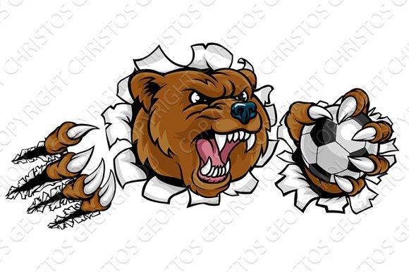 Bear Holding Soccer Ball Breaking Background