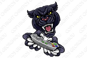 Black Panther Gamer Player Mascot