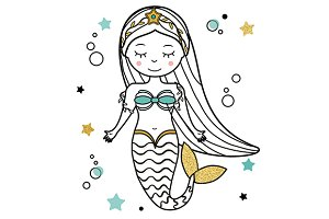 Cute beautiful mermaid. eps+jpg
