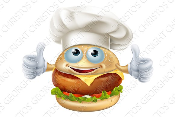 Cartoon chef burger mascot character