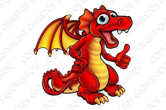 Cartoon Red Dragon in Illustrations
