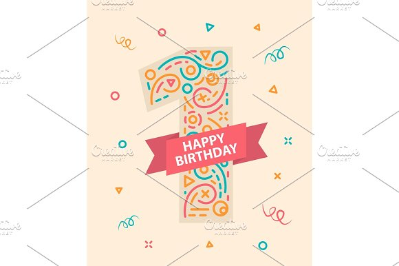 Happy Birthday Number 1 Greeting Card For One Year