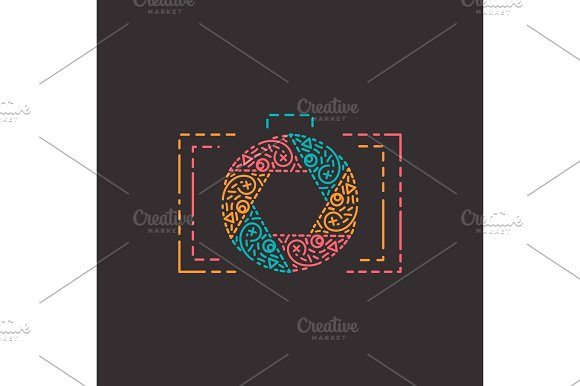 Abstract Photography Logo In Line Style