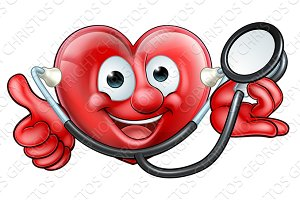 Stethoscope Heart Cartoon Character