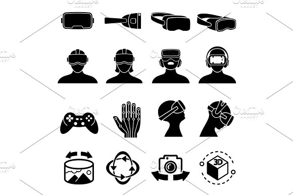 Virtual Reality And Headset Glasses Vector Icons Simulation Game And Vr Computer Sensor Device Symbols
