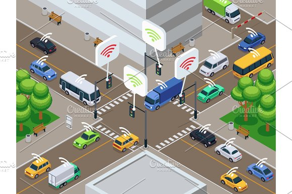 Vehicles With Infrared Sensor Device Unmanned Smart Cars In City Traffic Vector Illustration
