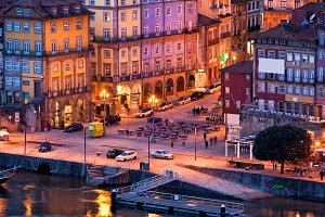 Porto Old City at Night in Portugal