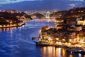 Douro River and Porto City at Night