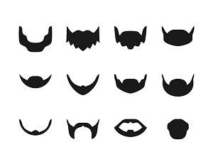 Beards & mustaches set flat style