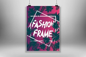 Purple  poster frame with palms