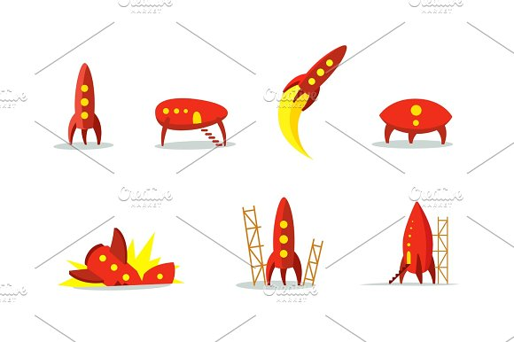 Red Ufo Aircraft And Rocket Set Color Illustration The Startup Metaphor Ready To Start The Beginning Path To The Stars