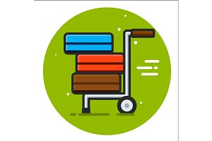 Packages delivery trolley icon