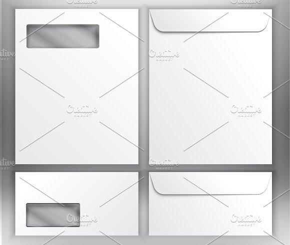 Realistic White Envelopes Mockup