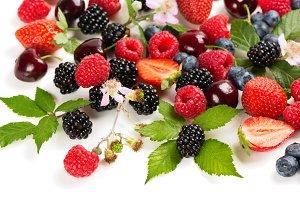 Various organic berries and fruits