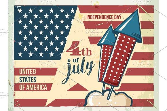 4th Of July Poster Grunge Retro Metal Sign With Fireworks Independence Day Celebration Flyer Vintage Mockup Old Fashioned Design