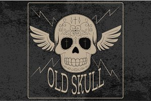 Retro skull with wings/vintage style