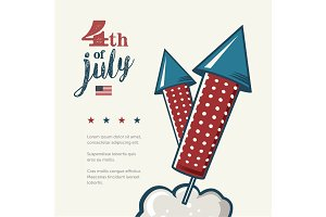 4th of July poster. Grunge retro metal sign with fireworks. Independence day. Celebration flyer. Vintage mockup. Old fashioned design.