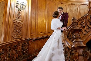 Wedding couple on the stairs