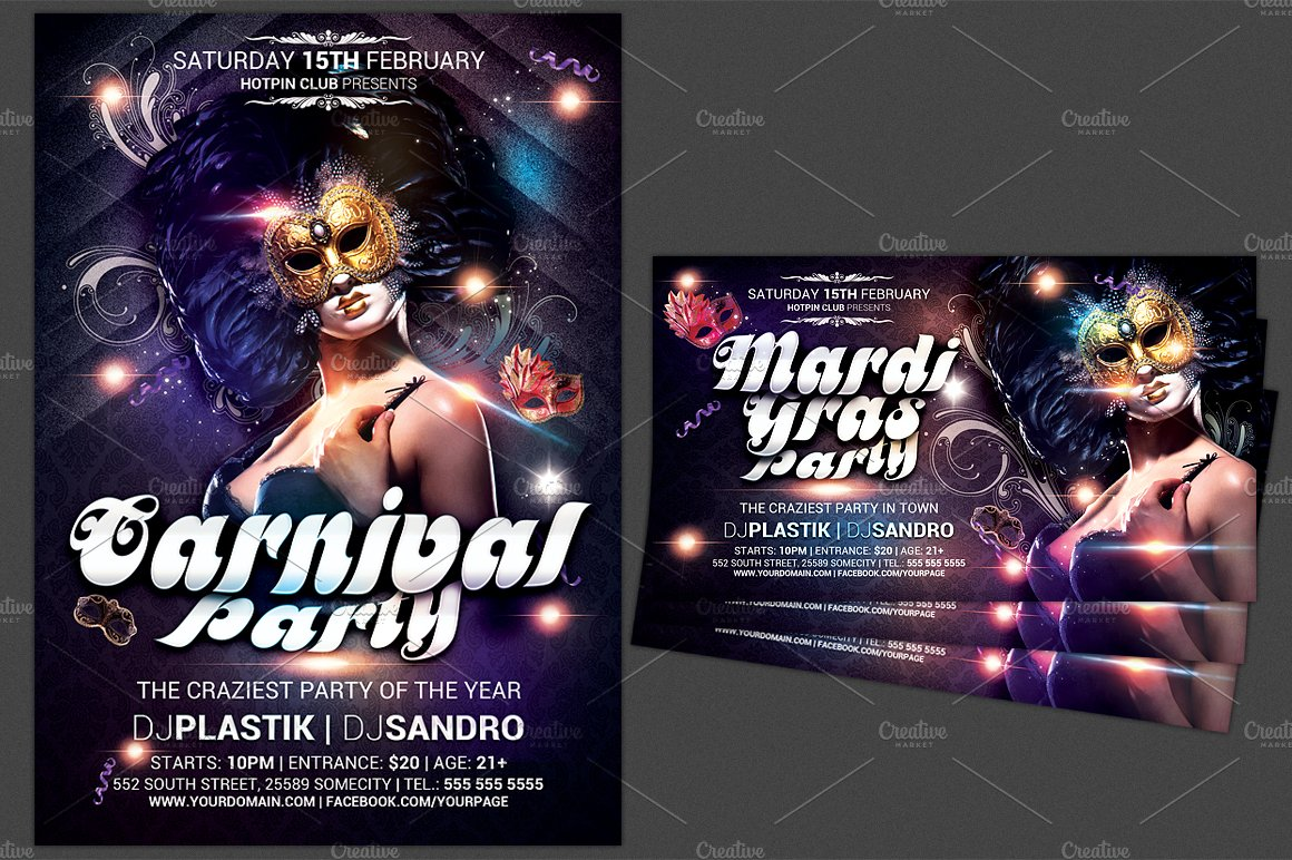 carnival mardi gras party flyer flyer templates creative market