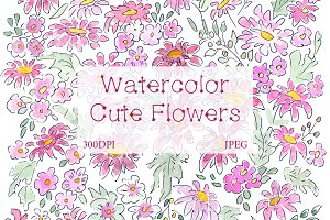 SALE! Watercolor cute kid floral art
