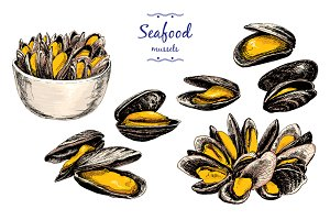Mussels. Set of graphic illustration