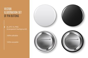Pin buttons. Vector black, white set