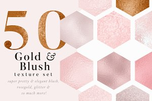 50 Gold & Blush Textures